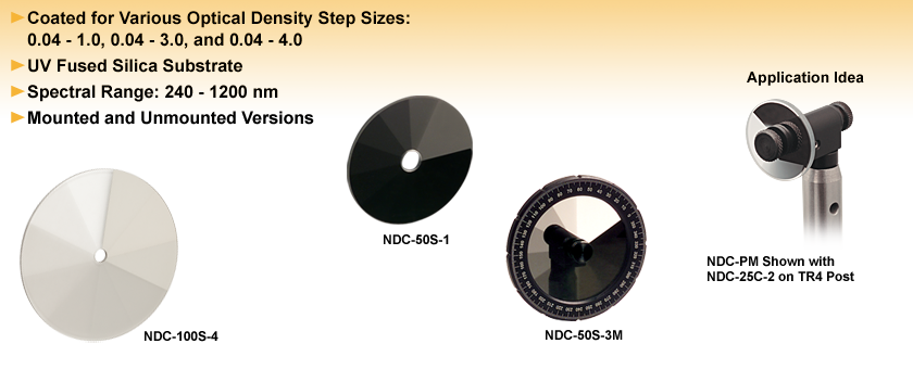 Round, Step-Variable, Metallic Neutral Density Filters