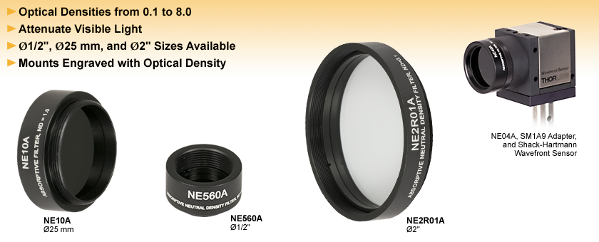 Mounted Absorptive Neutral Density Filters