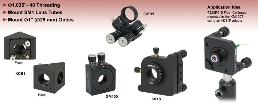 SM1 Compatible Kinematic and Gimbal Mounts