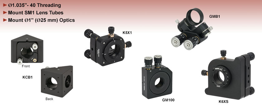 SM1-Compatible Kinematic and Gimbal Mounts