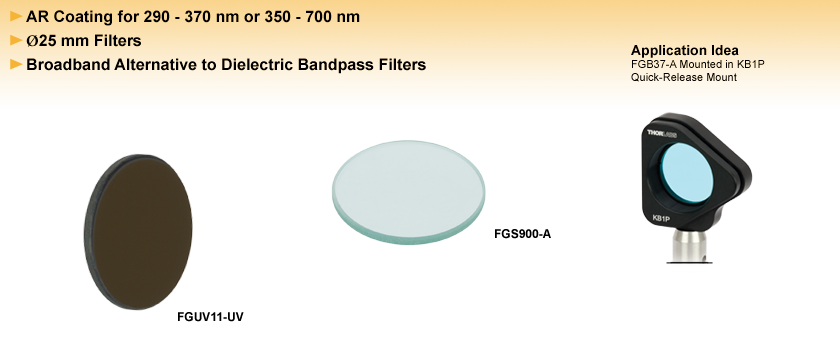 Unmounted, AR-Coated Bandpass Colored Glass Filters