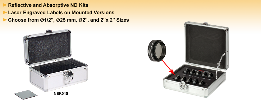 Absorptive and Reflective Neutral Density Filter Kits