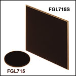 Unmounted 715 nm Longpass Colored Glass Filters