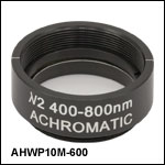 Ø1in Mounted Achromatic Half-Wave Plate, SM1-Threaded Mount