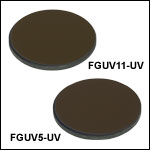 Unmounted Bandpass Colored Glass Filters, AR Coated: 245 - 400 nm