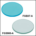 Unmounted Bandpass Colored Glass Filters, AR Coated: 350 - 700 nm