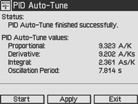 PID Auto-Tune Screen