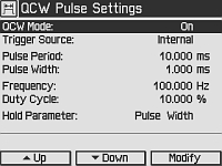 QCW Settings Screen