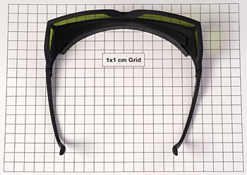 scale picture of laser safety glasses