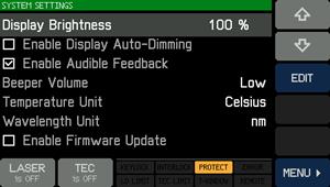System Settings Screen