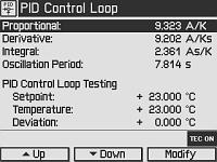 Temperature Mode Settings Screen