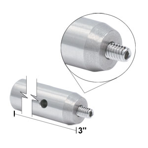 TR3 - Ø1/2in x 3in Stainless Steel Optical Post, 8-32 Stud, 1/4in-20 Tapped Hole