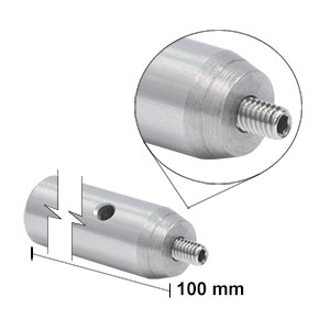 TR100/M - Ø12.7 mm x 100 mm Stainless Steel Optical Post, M4 Stud, M6-Tapped Hole