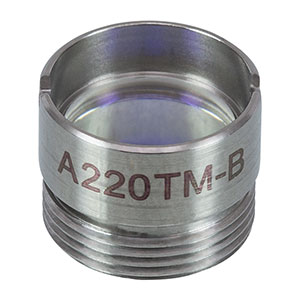 A220TM-B - f = 11.0 mm, NA = 0.26, Mounted Rochester Aspheric Lens, AR: 650 - 1050 nm