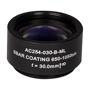 AC254-030-B-ML - f=30 mm, Ø1in Achromatic Doublet, SM1-Threaded Mount, ARC: 650-1050 nm