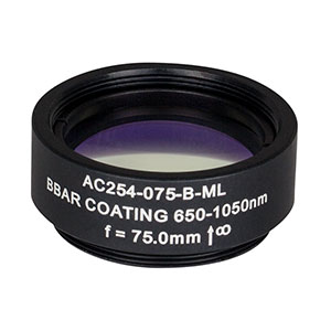 AC254-075-B-ML - f=75 mm, Ø1in Achromatic Doublet, SM1-Threaded Mount, ARC: 650-1050 nm