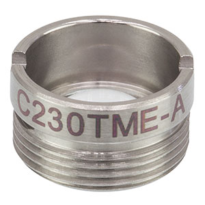 C230TME-A - f = 4.51 mm, NA = 0.55, Mounted Geltech Aspheric Lens, AR: 400-600 nm
