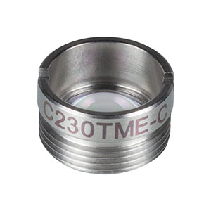 C230TME-C - f = 4.51 mm, NA = 0.55, Mounted Geltech Aspheric Lens, AR: 1050-1620 nm
