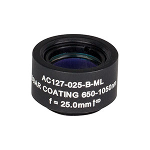 AC127-025-B-ML - f=25 mm, Ø1/2in Achromatic Doublet, SM05-Threaded Mount, ARC: 650-1050 nm