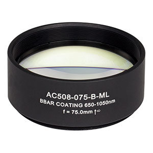 AC508-075-B-ML - f=75 mm, Ø2in Achromatic Doublet, SM2-Threaded Mount, ARC: 650-1050 nm