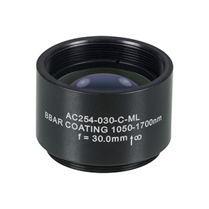 AC254-030-C-ML - f=30 mm, Ø1in Achromatic Doublet, SM1-Threaded Mount, ARC: 1050-1700 nm