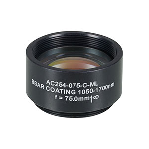 AC254-075-C-ML - f=75 mm, Ø1in Achromatic Doublet, SM1-Threaded Mount, ARC: 1050-1700 nm