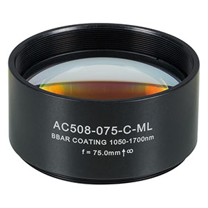 AC508-075-C-ML - f=75 mm, Ø2in Achromatic Doublet, SM2-Threaded Mount, ARC: 1050-1700 nm