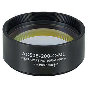 AC508-200-C-ML - f=200 mm, Ø2in Achromatic Doublet, SM2-Threaded Mount, ARC: 1050-1700 nm