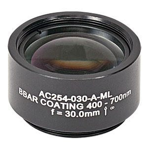 AC254-030-A-ML - f=30 mm, Ø1in Achromatic Doublet, SM1-Threaded Mount, ARC: 400-700 nm