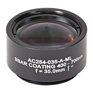 AC254-035-A-ML - f=35 mm, Ø1in Achromatic Doublet, SM1-Threaded Mount, ARC: 400-700 nm