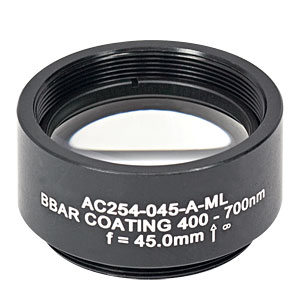 AC254-045-A-ML - f=45 mm, Ø1in Achromatic Doublet, SM1-Threaded Mount, ARC: 400-700 nm