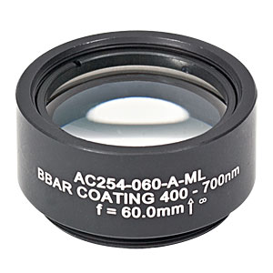 AC254-060-A-ML - f=60 mm, Ø1in Achromatic Doublet, SM1-Threaded Mount, ARC: 400-700 nm
