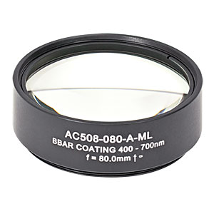 AC508-080-A-ML - f=80 mm, Ø2in Achromatic Doublet, SM2-Threaded Mount, ARC: 400-700 nm