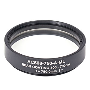 AC508-750-A-ML - f=750 mm, Ø2in Achromatic Doublet, SM2-Threaded Mount, ARC: 400-700 nm