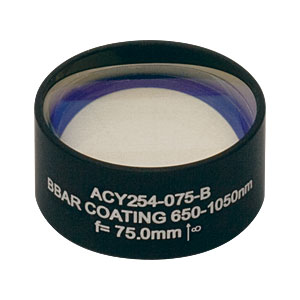 ACY254-075-B - f = 75 mm, Ø1in Cylindrical Achromat, AR Coating: 650 - 1050 nm