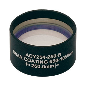 ACY254-250-B - f = 250 mm, Ø1in Cylindrical Achromat, AR Coating: 650 - 1050 nm
