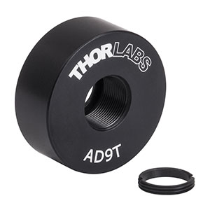 AD9T - Ø1in OD Adapter for Ø9 mm Optic, Internally Threaded, 0.38in Thick