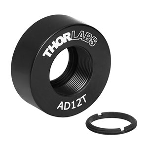 AD12T - Ø1in OD Adapter for Ø12 mm Optic, Internally SM05 Threaded, 0.38in Thick