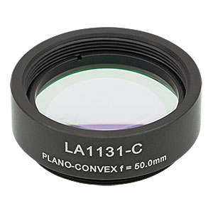 LA1131-C-ML - Ø1in N-BK7 Plano-Convex Lens, SM1-Threaded Mount, f = 50 mm, ARC: 1050-1620 nm
