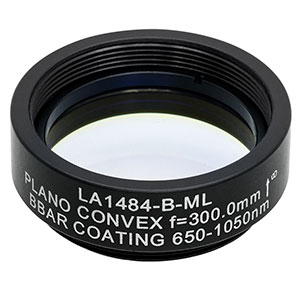 LA1484-B-ML - Ø1in N-BK7 Plano-Convex Lens, SM1-Threaded Mount, f = 300 mm, ARC: 650-1050 nm