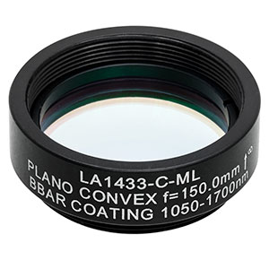 LA1433-C-ML - Ø1in N-BK7 Plano-Convex Lens, SM1-Threaded Mount, f = 150 mm, ARC: 1050-1620 nm