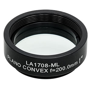 LA1708-ML - Ø1in N-BK7 Plano-Convex Lens, SM1-Threaded Mount, f = 200.0 mm, Uncoated