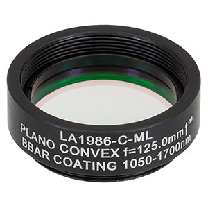 LA1986-C-ML - Ø1in N-BK7 Plano-Convex Lens, SM1-Threaded Mount, f = 125 mm, ARC: 1050-1620 nm