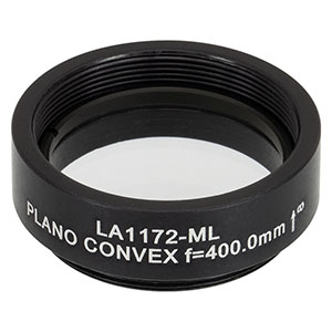 LA1172-ML - Ø1in N-BK7 Plano-Convex Lens, SM1-Threaded Mount, f = 400 mm, Uncoated