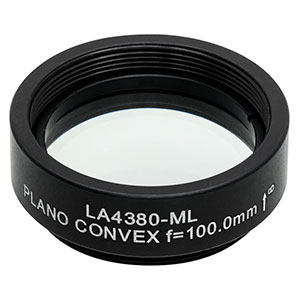 LA4380-ML -  Ø1in UVFS Plano-Convex Lens, SM1-Threaded Mount, f = 100.0 mm, Uncoated