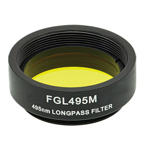 FGL495M - Ø25 mm SM1-Mounted Colored Glass Filter, 495 nm Longpass