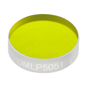 "DMLP505T - Ø1/2"" Longpass Dichroic Mirror, 505 nm Cut-On"