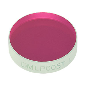 "DMLP605T - Ø1/2"" Longpass Dichroic Mirror, 605 nm Cut-On"