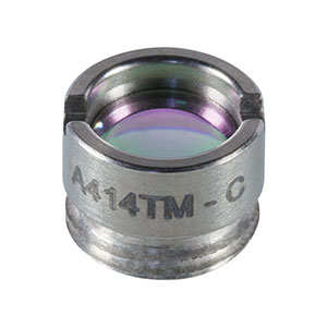 A414TM-C - f = 3.3 mm, NA = 0.47, Mounted Rochester Aspheric Lens, AR: 1050-1620 nm