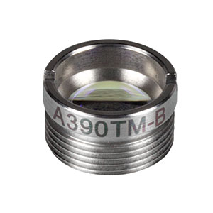 A390TM-B - f = 4.6 mm, NA = 0.53, Mounted Rochester Aspheric Lens, AR: 650 - 1050 nm